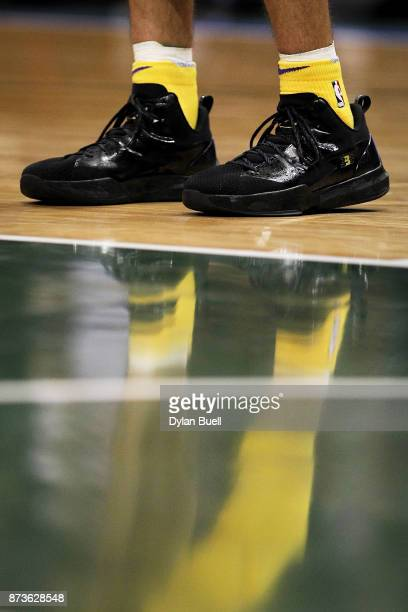 A detail view of the Big Baller Brand sneakers worn by Lonzo Ball of the Los Angeles Lakers in the second quarter against the Milwaukee Bucks at the...