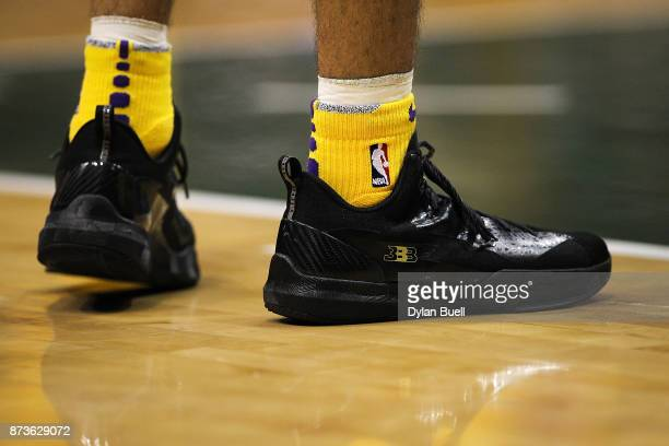 A detail view of the Big Baller Brand sneakers worn by Lonzo Ball of the Los Angeles Lakers in the fourth quarter against the Milwaukee Bucks at the...