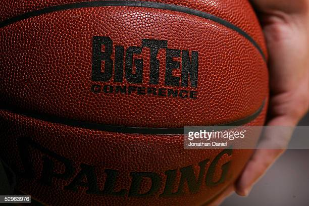 A detail view of the BigTen logo is seen on a basketball as the Penn State Nittnay Lions play against Ohio State Buckeyes during the first day of the...