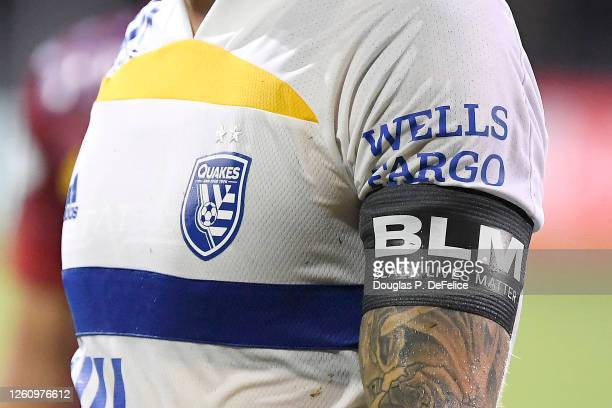 Detail view of the Black Lives Matter armband of Magnus Eriksson of San Jose Earthquakes after their victory by 5-2 over Real Salt Lake in a round of...