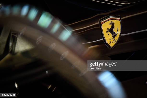 A detail view of the bodywork and logo on a 2017 Ferrari GT4C Lusso as it is displayed at the Design Museum ahead of the 'Ferrari Under the Skin'...