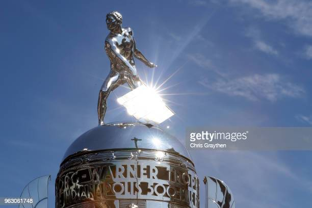 A detail view of the BorgWarner trophy prior to the 102nd Running of the Indianapolis 500 at Indianapolis Motorspeedway on May 27 2018 in...