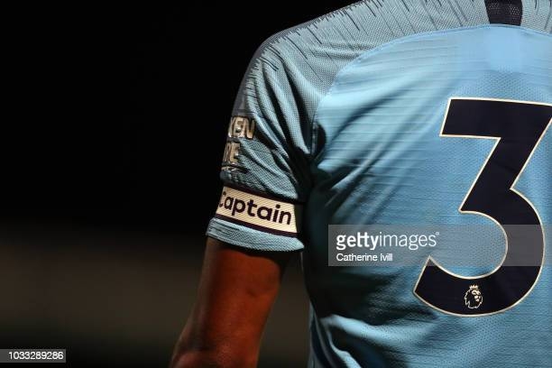Detail view of the captains armband during the Premier League 2 match between Tottenham Hotspur and Manchester City at The Lamex Stadium on September...