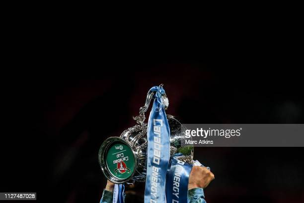 Detail view of the Carabao Cup Trophy during the Carabao Cup Final between Chelsea and Manchester City at Wembley Stadium on February 24 2019 in...