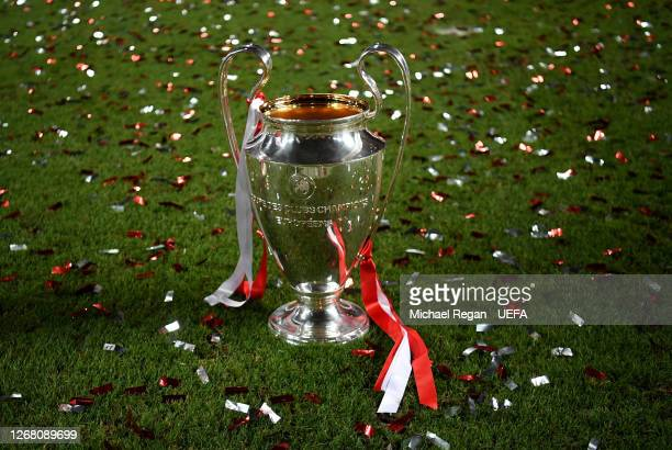 Detail view of the Champions League Trophy on pitch following the UEFA Champions League Final match between Paris Saint-Germain and Bayern Munich at...