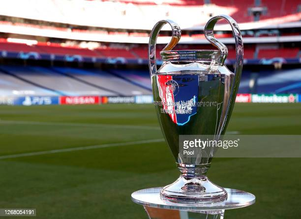 Detail view of the Champions League Trophy prior to the UEFA Champions League Final match between Paris Saint-Germain and Bayern Munich at Estadio do...