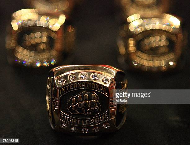 Detail view of the Championship rings won by the New York Pit Bulls against the Quad Cities Silverbacks during the the International Fight League...