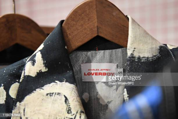 A detail view of the Charles Jeffrey Loverboy NEWGEN PopUp Showroom during London Fashion Week Men's June 2019 at the BFC Designer Showrooms on June...