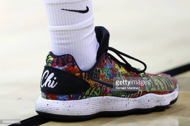 A detail view of the Chicago themed Nike shoe worn by Donte Ingram of the Loyola Ramblers is seen in the first half against the Nevada Wolf Pack...