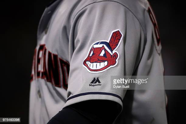 A detail view of the Chief Wahoo Cleveland Indians logo on the uniform of Michael Brantley during the game against the Chicago White Sox at...