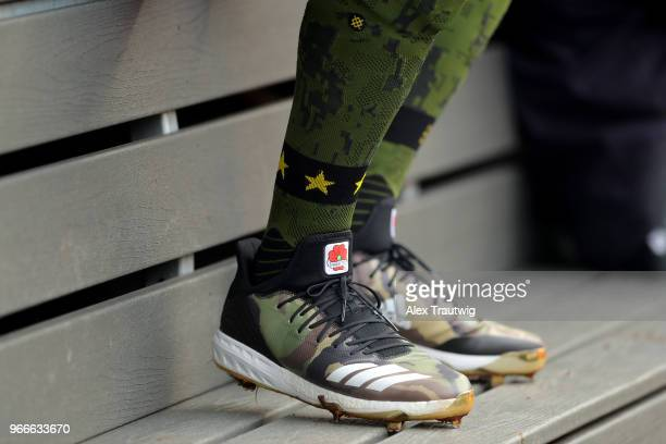 Detail view of the cleats and socks of Aaron Judge of the New York Yankees during a game against the Houston Astros at Yankee Stadium on Monday May...