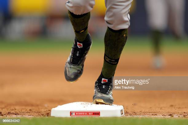 Detail view of the cleats of Carlos Correa of the Houston Astros during a game against the New York Yankees at Yankee Stadium on Monday May 28 2018...