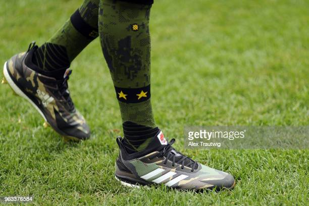Detail view of the cleats of Carlos Correa of the Houston Astros prior to the start of a game against the New York Yankees at Yankee Stadium on...
