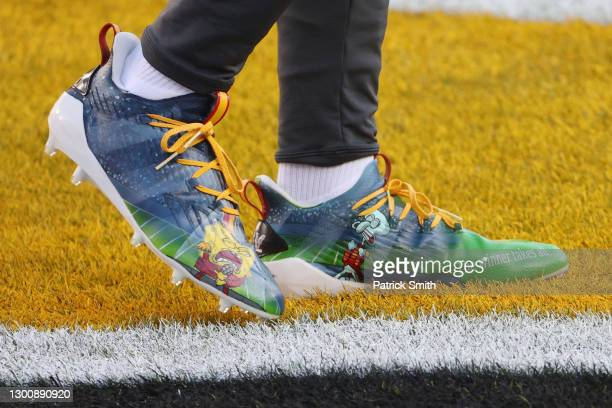 Detail view of the cleats worn by Juan Thornhill of the Kansas City Chiefs before Super Bowl LV against the Tampa Bay Buccaneers at Raymond James...