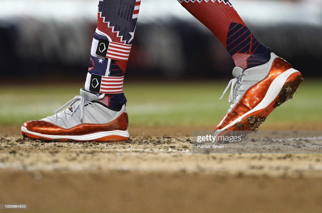 f563d2c71 A detail view of the cleats worn by Manny Machado of the Baltimore ...