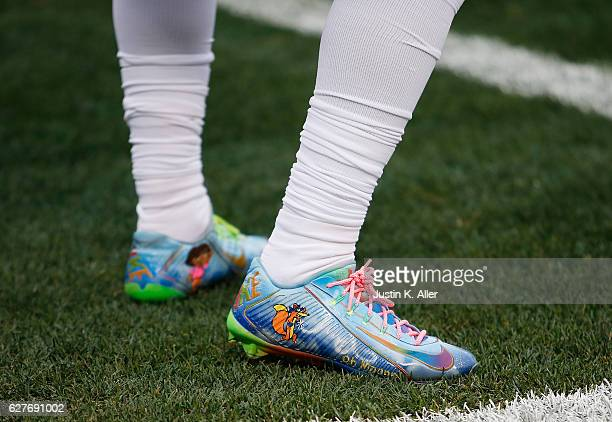 A detail view of the cleats worn by Odell Beckham of the New York Giants prior to the game against the Pittsburgh Steelers at Heinz Field on December...