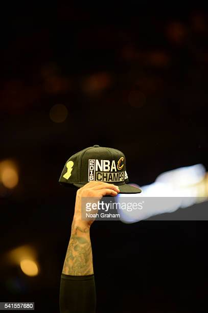 A detail view of the Cleveland Cavaliers after winning the championship against the Golden State Warriors in Game Seven of the 2016 NBA Finals on...