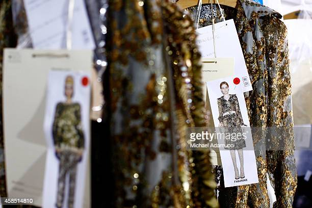 A detail view of the clothing backstage before the Teca por Helo Rocha fashion show during Sao Paulo Fashion Week Winter 2015 at Parque Candido...