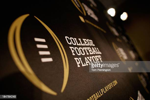 Detail view of the College Football Playoff logo shown during a press conference on October 16, 2013 in Irving, Texas. Condoleezza Rice, Stanford...