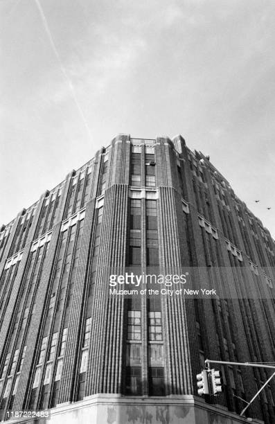 Detail view of the corner facade of an Abraham Straus department store now a Macy's branch Brooklyn New York New York circa 1975