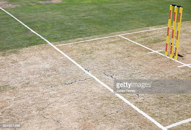 A detail view of the crease during day one of the 3rd Test at Wanderers Stadium on January 14 2016 in Johannesburg South Africa