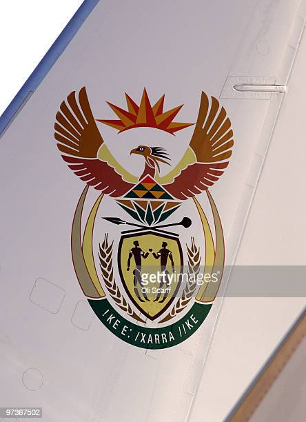 A detail view of the crest on the tail fin of the plane carrying South African President Jacob Zuma and Thobeka Madiba Zuma his newest of three wives...