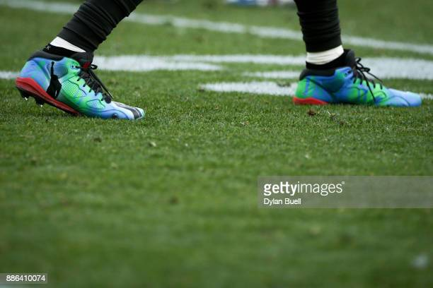 A detail view of the custom cleats worn by DeSean Jackson of the Tampa Bay Buccaneers in the second quarter against the Green Bay Packers at Lambeau...