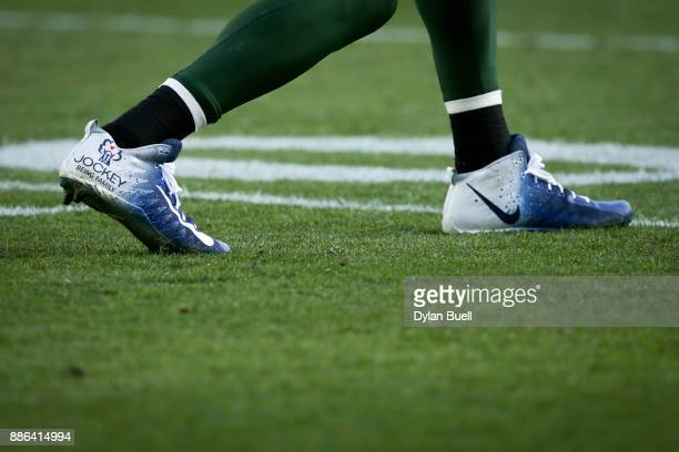 A detail view of the custom cleats worn by Jordy Nelson of the Green Bay Packers in the third quarter against the Tampa Bay Buccaneers at Lambeau...