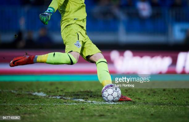 Detail view of the damaged pitch during the Danish Alka Superliga match between FC Helsingor and AGF Aarhus at Helsingor Stadion on April 17, 2018 in...
