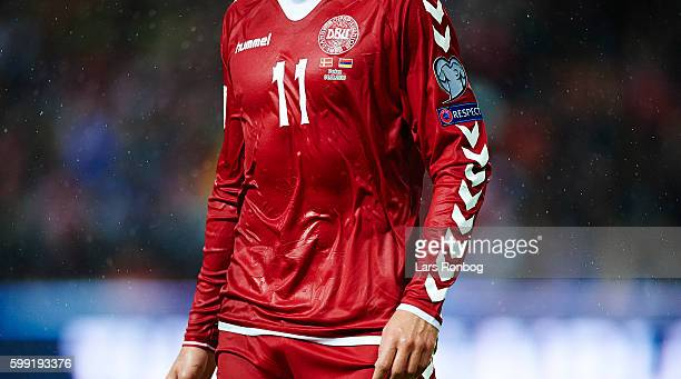 Detail view of the danish Hummel jersey with national symbol Holger Danske on the shirt during the FIFA World Cup 2018 european qualifier match...