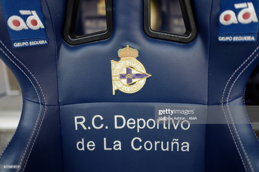 Detail view of the Deportivo de La Coruna seat on the bench / dug out prior to the Pre-Season Friendly between Deportivo de La Coruna and West Bromwich Albion on August 5, 2017 in La Coruna, Spain.