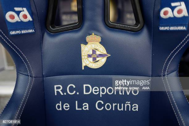 Detail view of the Deportivo de La Coruna seat on the bench / dug out prior to the PreSeason Friendly between Deportivo de La Coruna and West...