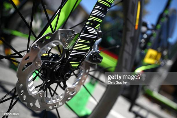 A detail view of the disc brakes on the bicycle of Alberto Bettiol of Italy riding for CannondaleDrapac Pro Cycling during stage five of the AMGEN...