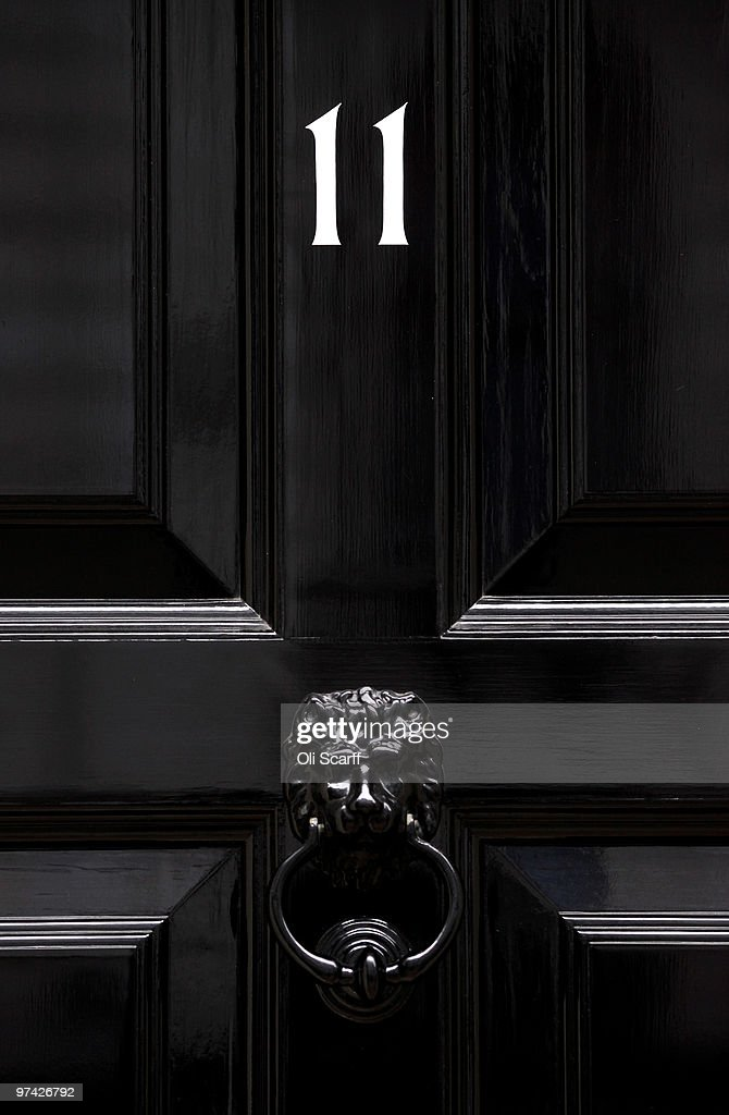 A detail view of the door for Number 11 Downing Street, the residence of the Chancellor of the Exchequer, on March 4, 2010 in London, England. As the UK gears up for one of the most hotly contested general elections in recent history it is expected that that the economy, immigration, the NHS and education are likely to form the basis of many of the debates.