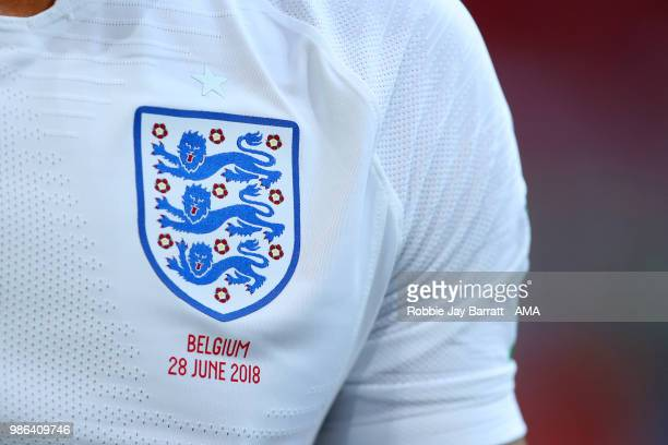 Detail View of the England crest on a player's shirt during the 2018 FIFA World Cup Russia group G match between England and Belgium at Kaliningrad...