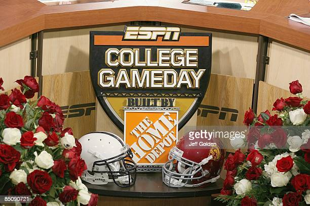 Detail view of the ESPN College Game Day set after the game between the Penn State Nittany Lions and the USC Trojans on January 1 2009 at the Rose...