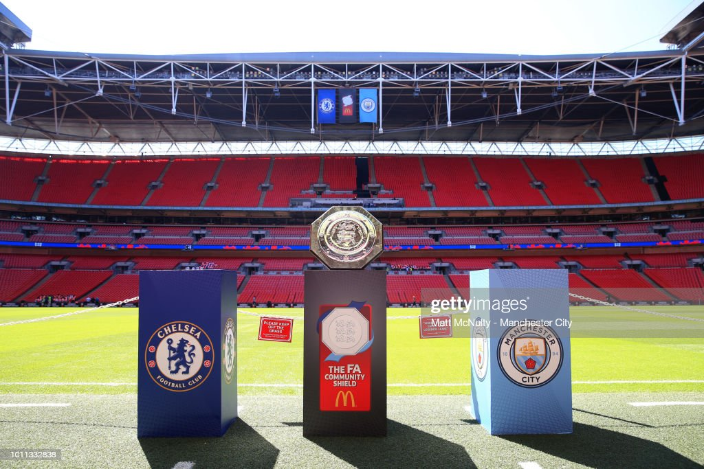 A detail view of the FA Community Shield trophy is seen ...