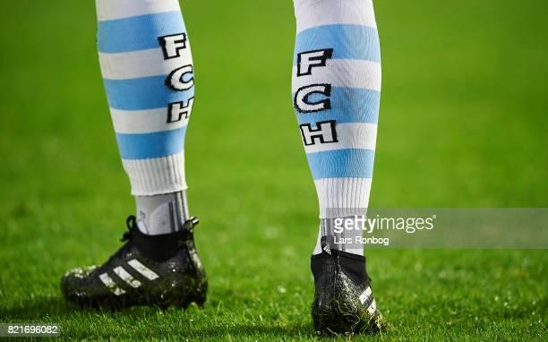 Detail view of the FC Helsingor socks during the Danish Alka Superliga match between FC Helsingor and OB Odense at Helsingor Stadion on July 24 2017...