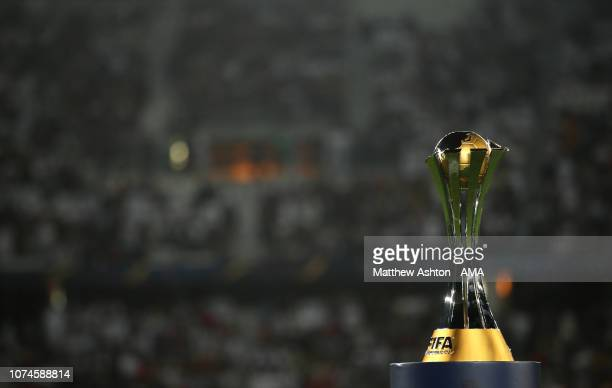 Detail View of the FIFA Club World Cup trophy during the FIFA Club World Cup UAE final match between Real Madrid and Al Ain at Sheikh Zayed Stadium...