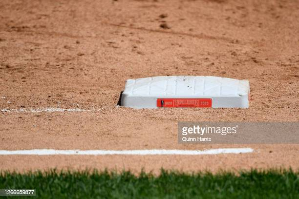 Detail view of the first base celebrating the Negro Leagues' 100th anniversary during the game between the Chicago White Sox and the St. Louis...