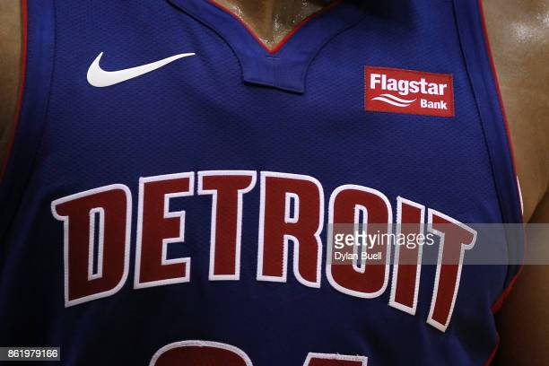 A detail view of the Flagstar Bank patch on the jersey of Tobias Harris of  the dd26af6b1