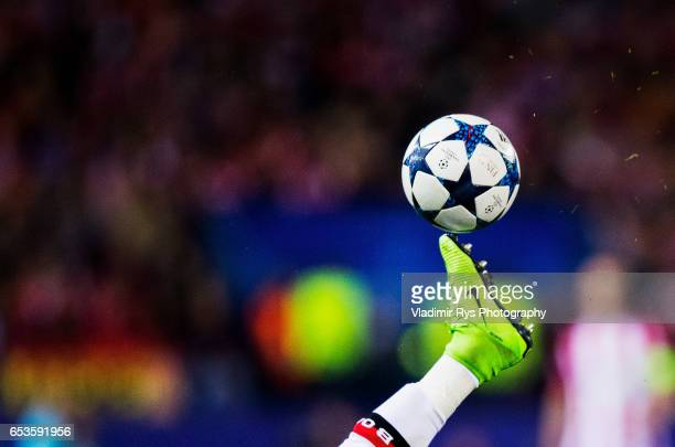 A detail view of the football shoe as Wendell of Leverkusen kicks the ball during the UEFA Champions League Round of 16 second leg match between...