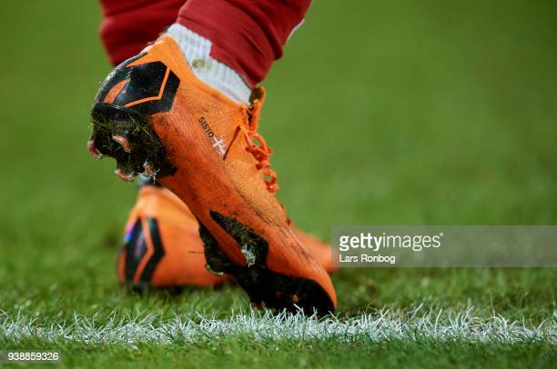 Detail view of the football shoes of Pione Sisto of Denmark during the International friendly match between Denmark and Chile at Aalborg Stadion on...