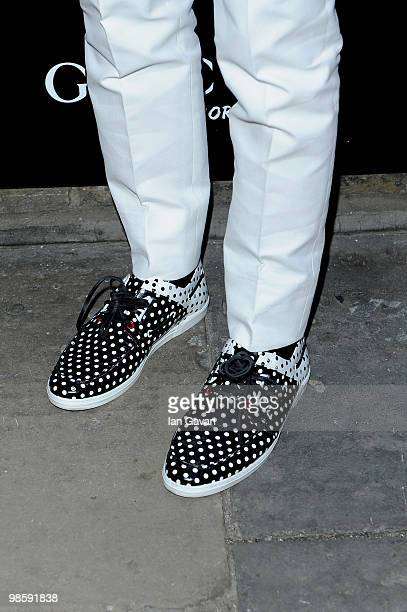 A detail view of the footwear belonging to Mark Ronson as he attends the Gucci Icon Temporary store opening on April 21 2010 in London England