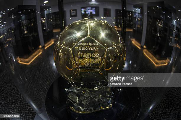 Detail view of the fourth Balon D'or award won by Cristiano Ronaldo at the CR7 Museum on December 29 2016 in Funchal Madeira Portugal The museum is...