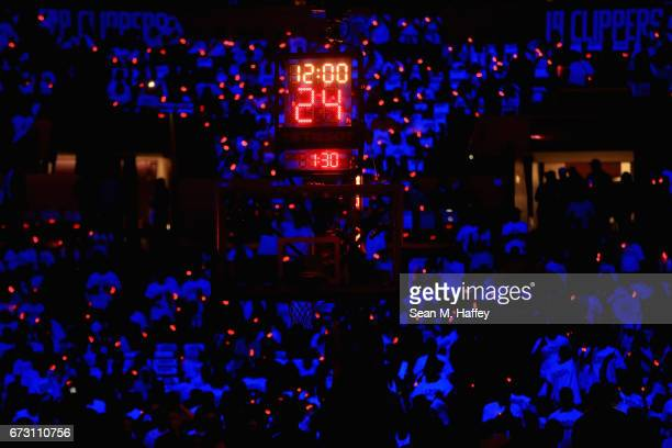 A detail view of the game clock prior to Game Five of the Western Conference Quarterfinals between the Los Angeles Clippers and the Utah Jazz at...