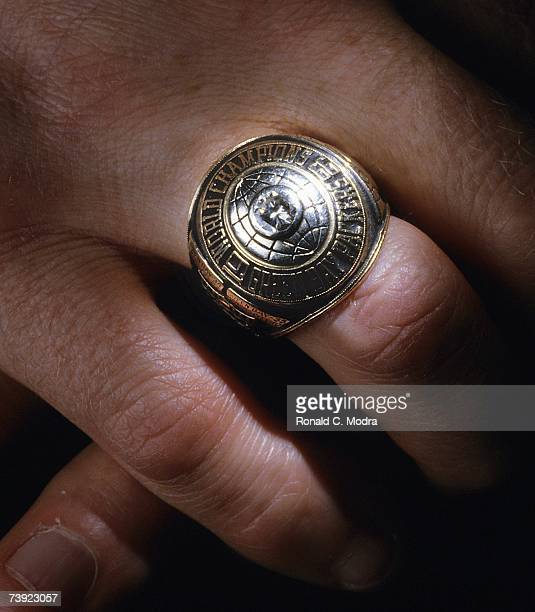 A detail view of the Green Bay Packer Super Bowl I ring