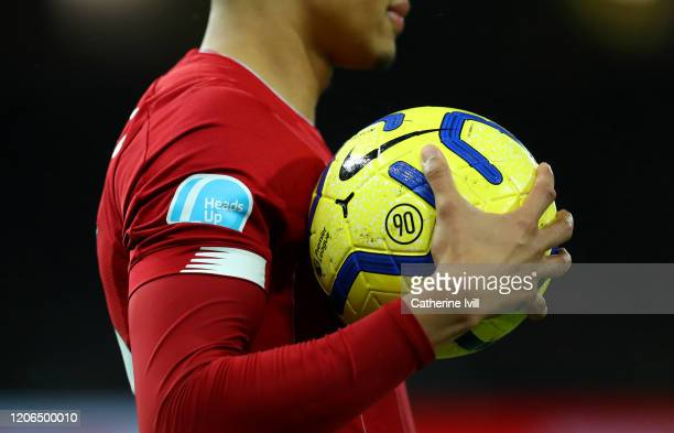 Detail view of the Heads up campaign logo on a shirt during the Premier League match between Norwich City and Liverpool FC at Carrow Road on February...