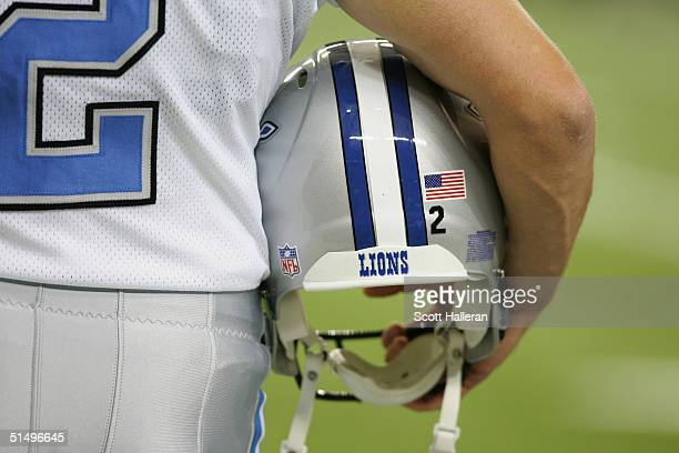 Detail view of the helmet of punter Nick Harris of the Detroit Lions during the game against the Atlanta Falcons at the Georgia Dome on October 10,...