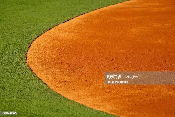 A detail view of the infield grass and dirt as the Colorado Rockies face the Washington Nationals during MLB action at Coors Field on July 6 2009 in...